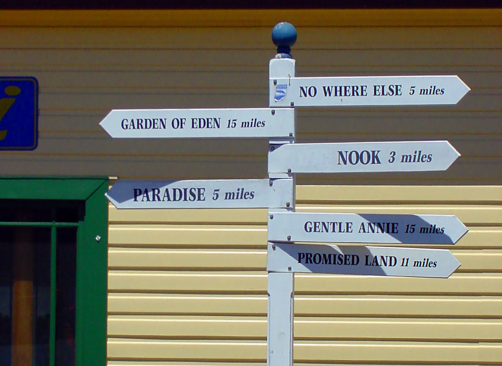 multi-directional signpost to funny place names in the area