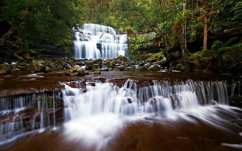 tiered flowing waterfall in cradle country